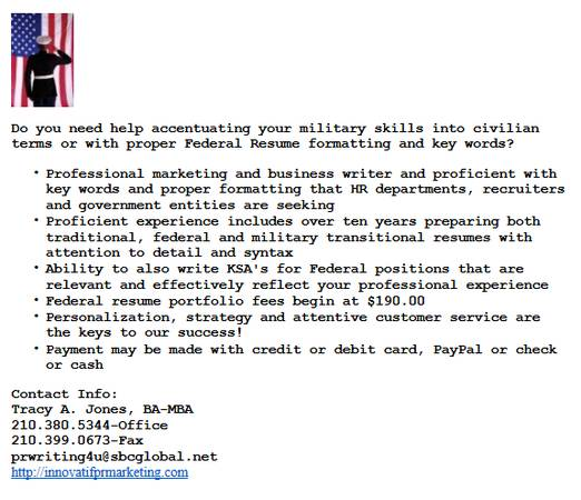 --- Need a military transitional or federal resume  ---  Texas