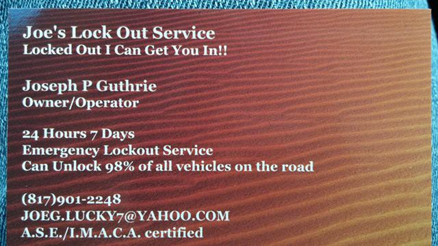 Joes Lock Out Service 247 available all Holidays