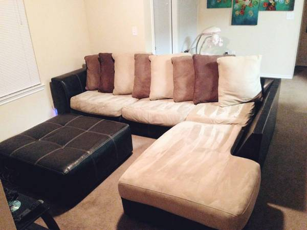 Modern Sectional Couch and Ottoman - $675 (Sherman )