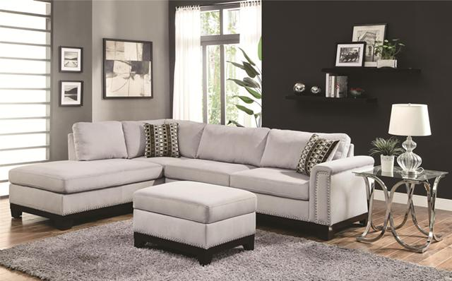 729  Gorgeous Blue-Gray Velvet Sectional Sofa On Sale--Free Delivery-No Money Down Financing