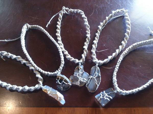 Hand Wrapped Montana Agates on Hemp Necklaces -   x0024 22