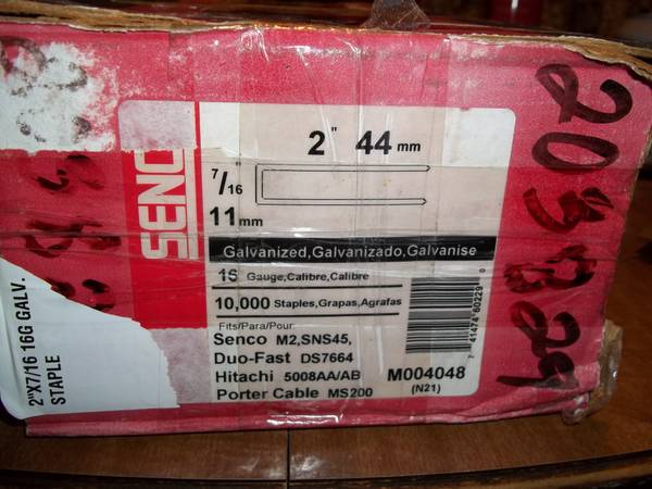 Senco Galv  Staples 16 ga  7 16  crown X 2  10 000 count  -   x0024 55  Durant OK