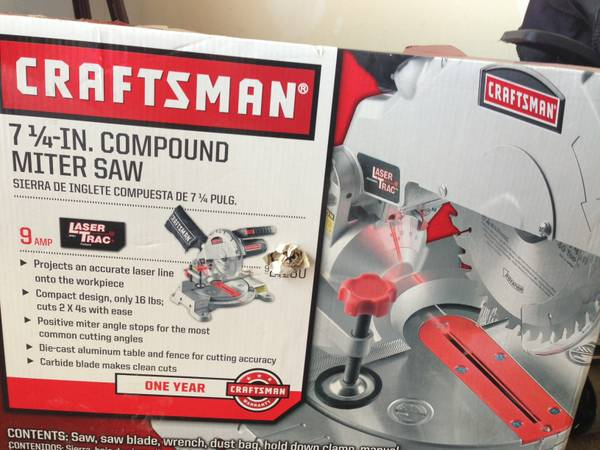 Craftsman 7 14 in 9 compound miter saw w laser trac - $75 (Anna)