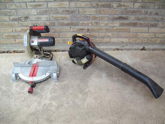 80  Craftsman Mitre Saw and Homelite Leaf Blower