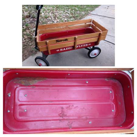 Red radio flyer wagon with wooden side rails - $50 (Gainesville)