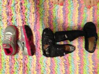 Toddler Girls shoes 3 pairs  Nike (size 9) and glitter Toms (size 8) - $30 (Sherman, TX )
