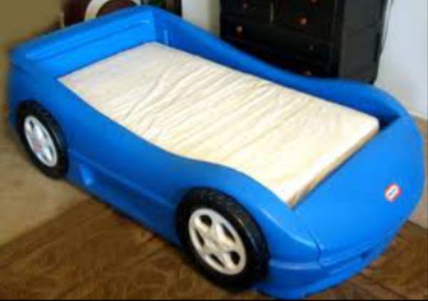 blue little tikes race car toddler bed  - $50 (Mead surrounding areas)