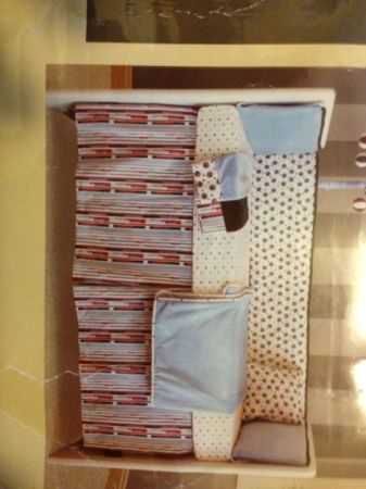 Crib bedding, blanket, window valance - $35 (Milburn )
