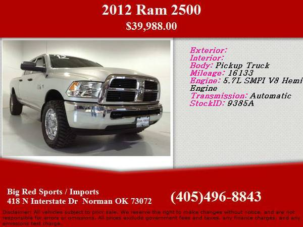 2012 Ram 2500 Pickup Truck PERFECT 4X4 TURBO DIESEL CUSTOM RIMS AND TIRES WIT - $39988 (Interstate North)