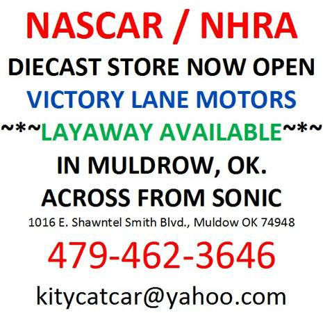 NASCAR NHRA DIECAST STORE NOW OPEN gtgtLAYAWAY AVAILABLEltlt - $1 (VICTORY LANE RV)