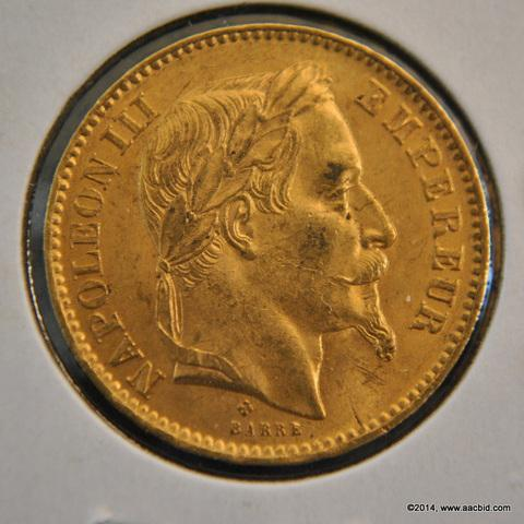1866BB France Napoleon III Gold 20 Francs Coin