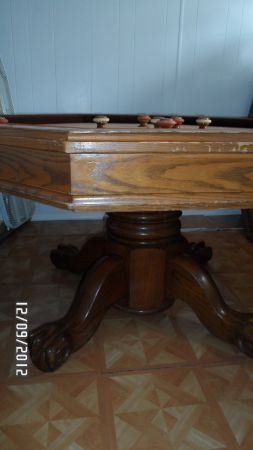 Dining Table Combo Pokerbumper Pool Huge Solid Wood Table - $300 (Durant, OK)