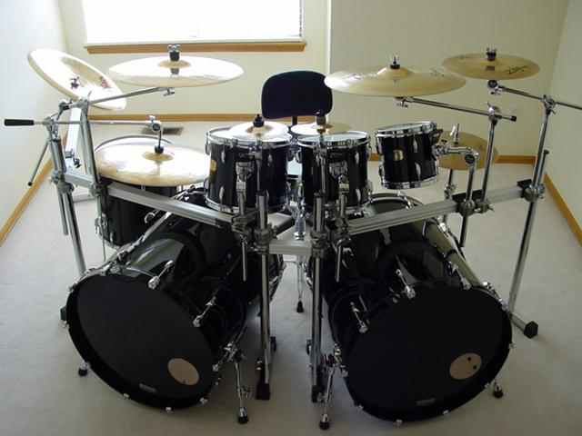 Pearl drum set for sale with 24x24 bass drums by keller - $1800