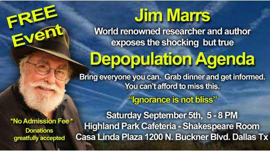 FREE EVENT  Free DVDs  The famous Jim Marrs speaks on Saturday Sept 5th in Dallas  -health-