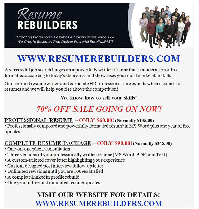 70 OFF SALE  RESUME REBUILDERS  Professional Resume Services
