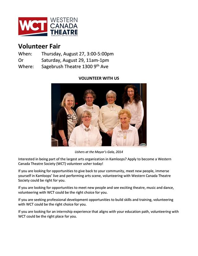 Western Canada Theatre Society WCT Volunteer Fair