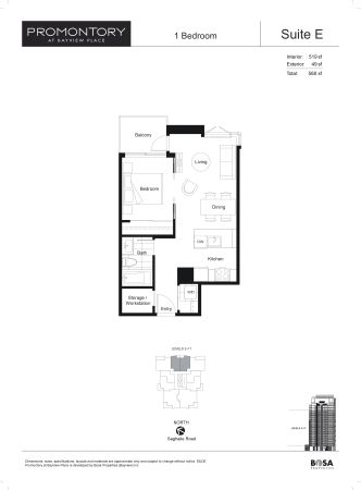 $273900  1br - 519ftsup2 - BRAND NEW - Bright One Bedroom Condo (Promontory)