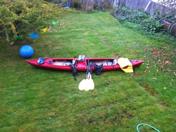 Tandom Kayak - Old Town Dirigo XT Plus, 3 paddles, 2 jackets, pump, - $400 (Victoria)