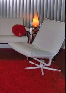 Two White Vintage Mid-Century Modern Danish Kebe Leather Swivel Chairs - x0024400 (Duncan)