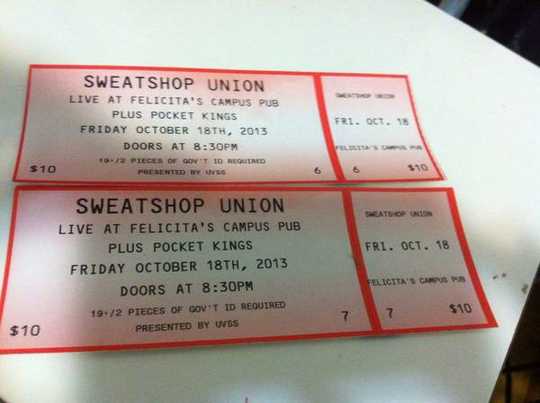 Sweatshop Union - UVic - Oct 18 - $8 (UVic Felicitas Cus Pub)
