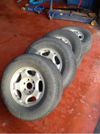 Stock rims and tires from 2003 Chevy silverado - $250 (Victoria )