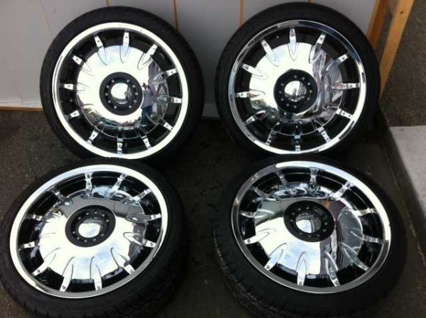 Chrome 20 rims with new low pro tires - $600 (victoria)