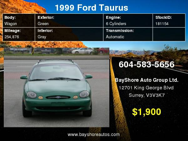 1999 Ford Taurus 4dr Wgn SE with Driver front passenger second-generation - $1900