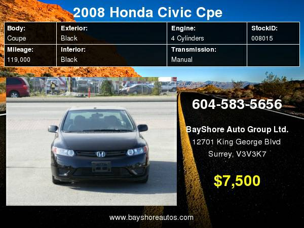 2008 Honda Civic Cpe 2dr Man LX, Sunroof, No Accident Local  with Security syste - $7500