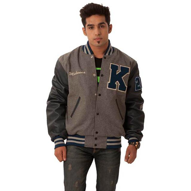 110  Gray Baseball Letterman Varsity Jacket Manufacturer and Supplier