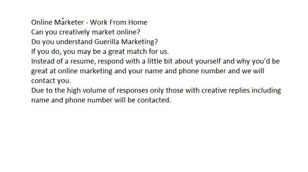 Online Marketing Work From Home