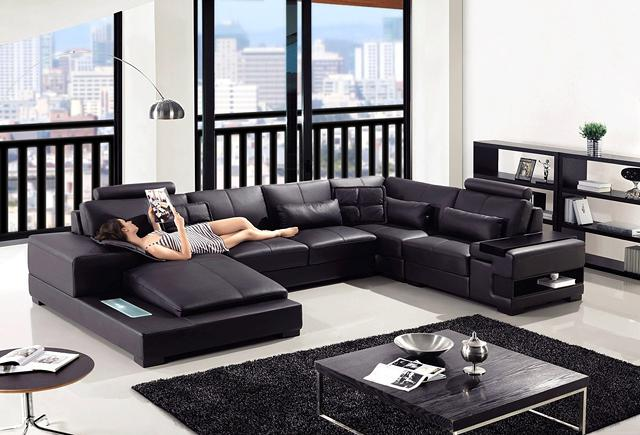 huge sale on black leather 3modern sectional sofa