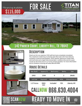 3br - 1530ftsup2 - Fabulous NEW Listing Immediate Move In Home- 3 Bed 2 Bath NICE (Liberty Hill Williamson County)