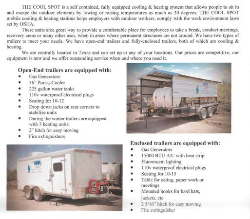 Oilfield company-cooling trailers-service company - $130000 (College Station area)
