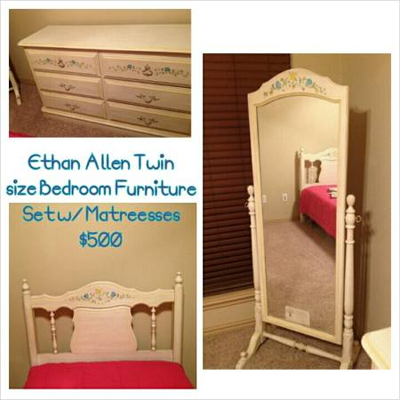 Ethan Allen Twin Size Bedroom Furniture w Mattress Set - $350 (Temple)