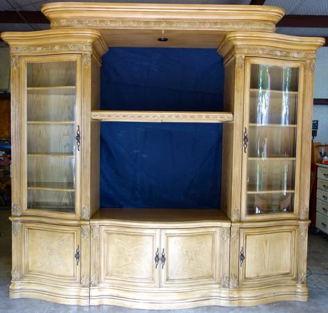 Elegant Aico entertainment center bookcase -- LaFrancaise style