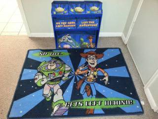 Toy Story kids organizer and rug - $25 (China Spring)