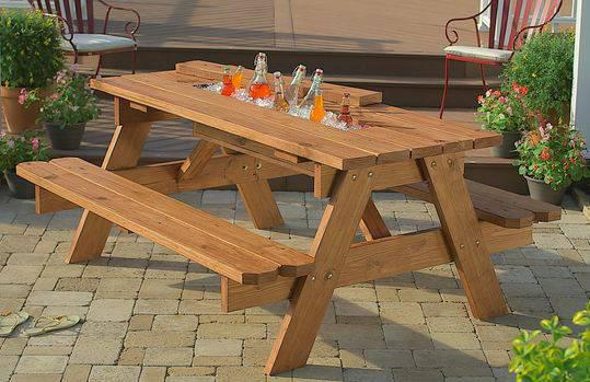 1  Patio and  Picnic Tables with Ice trough
