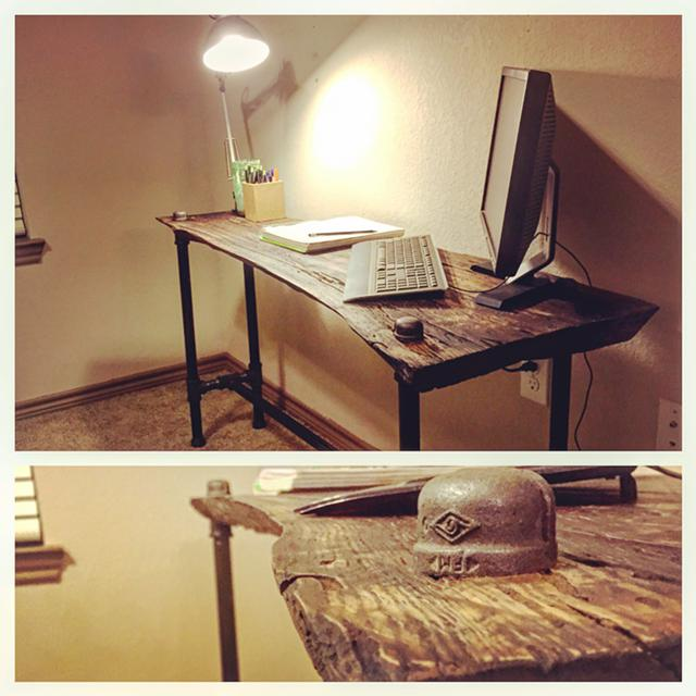 450  Live edge industrial style desk