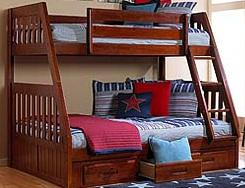 833  New mission twinfull bunk bed with mattresses