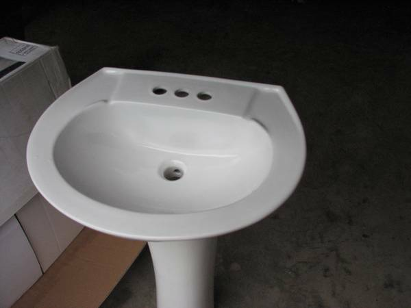 White Porcelain Pedestal Sink with Chrome Faucet -   x0024 60  Waco