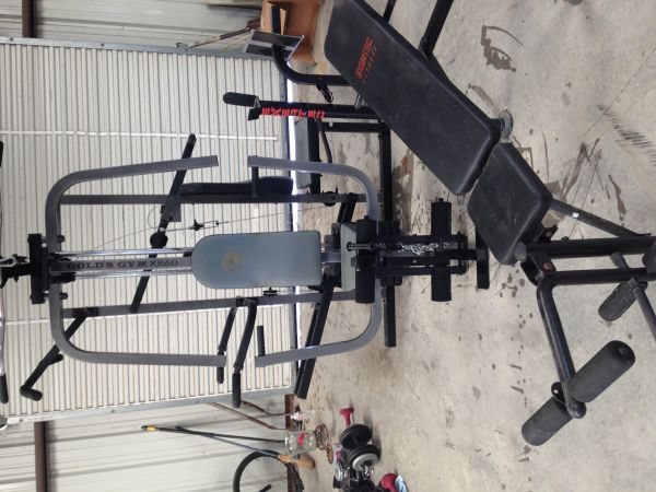 Golds home gym and weight bench - $225 (Lorena)