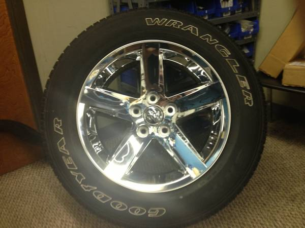 Dodge ram 20chrome rims (4) and tires - $1300 (Corsicana )