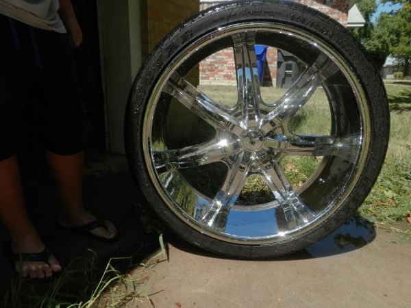 26 inch chrome rims and low profile tires - $1800 (china spring)