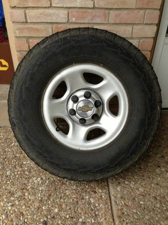 Chevy 6 lug wheels rims 16 tires center caps spare - $40 (Waco TX)
