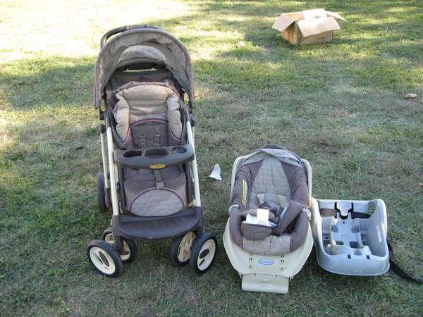 Laura Ashley Stroller and Car Seat with Bases - $50 (Lorena)