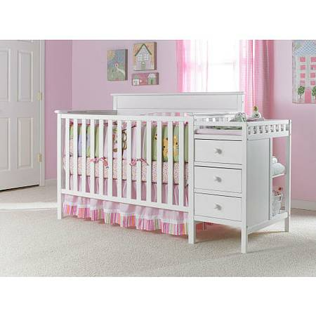 White Crib and Changer Combo with Mattress  Bedding for a Baby Girl - $300 (Whitney)