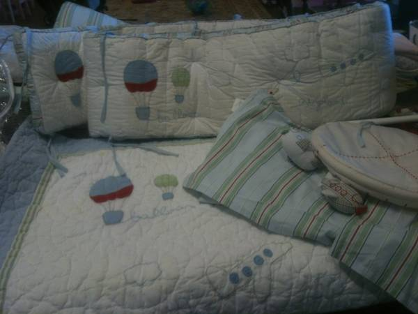 Pottery Barn Up, up,  away crib bedding - $40 (Waco)