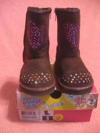 Like New Twinkle Toes Boots by Skechers - Toddler Girl Size 6 (Waco)