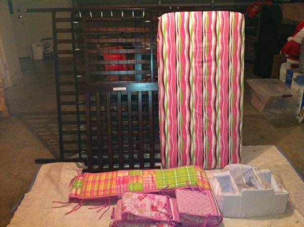 Crib, Bumbers, Diaper holder and Mattress for Sale - $175 (Valley Mills)