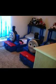 Thomas the Train toddler bed, mattress included - $150 (McGregor)